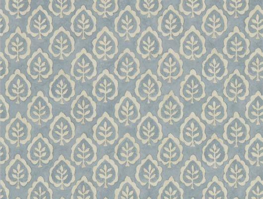 Заказать флизелиновые обои для спальни Fencott с рисунком листьев на голубом фонем из коллекции Littlemore от Sanderson с доставкой., Littlemore, Обои для гостиной, Обои для спальни