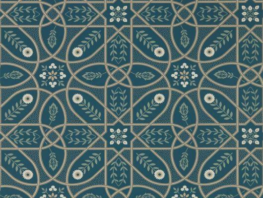 Продажа английских обоев для столовой арт. 216699 из коллекции Melsetter от Morris, Великобритания с геометрическим орнаментом в темно-зеленом цвете в интернет-магазине в Москве, бесплатная доставка.Фото в интерьере, Melsetter, Бумажные обои, Обои для гостиной, Обои для кухни