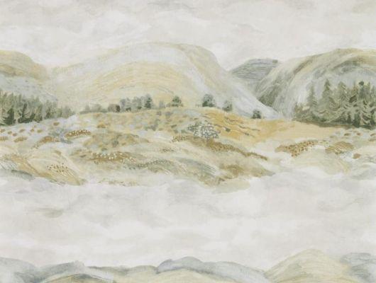 Купить обои Elysian для квартиры от производителя Sanderson арт. 216593 с акварельным рисунком пейзажа в шоу-руме в Москве, Elysian, Обои для гостиной, Обои для спальни