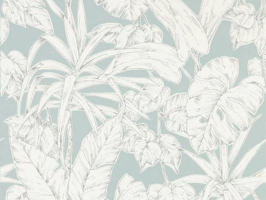 Выбрать английские обои в коридор арт. 112025 дизайн Parlour Palm из коллекции Zanzibar от Scion, Великобритания с принтом в виде пальмовых листьев белого цвета на светло-сером фоне в салоне обоев в Москве с бесплатной доставкой, большой ассортимент, Zanzibar, Обои для гостиной, Обои для спальни