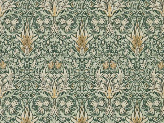 Посмотреть обои для гостиной дизайн Snakeshead арт. 216863 из коллекции Compilation Wallpaper от Morris , Великобритания с растительных узором в зеленых тонах в салоне О-Дизайн., Compilation Wallpaper, Обои для гостиной, Обои для кабинета, Обои для кухни, Обои для спальни