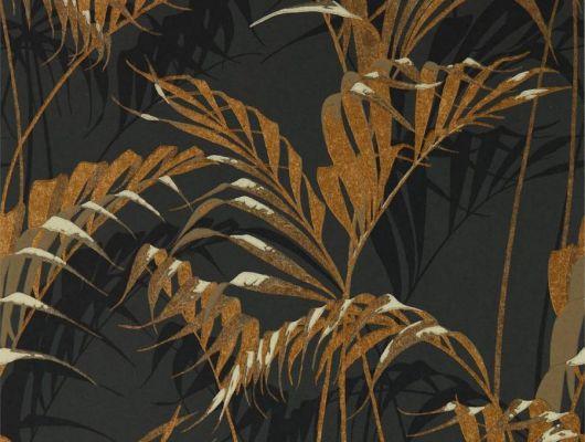 Изящные пальмовые золотые листья на черном фоне подойдут для оформления спальни  арт. 216641 от Sanderson из коллекции The Glasshouse можно выбрать на сайте odesign.ru, The Glasshouse, Обои для гостиной, Обои для спальни