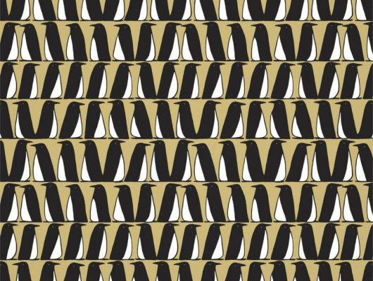 Посмотреть обои для коридора Pedro с пингвинами на желтом фоне арт. 112225 из коллекции Esala от Scion в салоне, Esala, Обои для гостиной