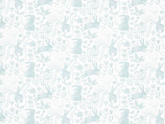 Купить обои для детской Into The Meadow арт. 112631 от Harlequin с забавным изображением кроликов среди трав и цветов в бело-бирюзовой гамме в салонах Москвы., Book of Little Treasures