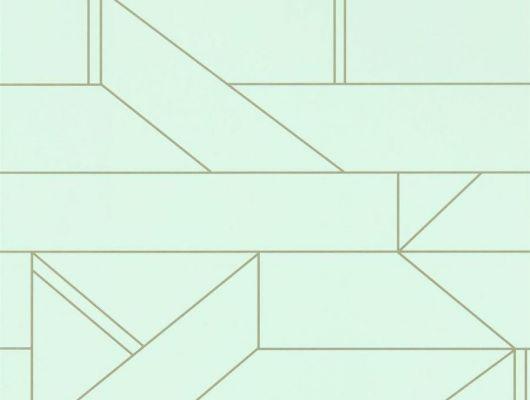 Купить обои в спальню арт. 112013 дизайн Barbican   из коллекции Zanzibar от Scion, Великобритания с современным геометрическим принтом серебристого цвета на светло-зеленом фоне в салоне обоев Одизайн в Москве, Zanzibar, Обои для гостиной, Обои для спальни