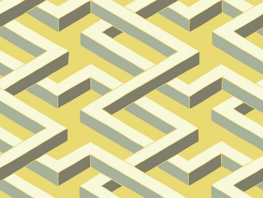 """Обои с геометрическим рисунком """"Люксор"""", кремового цвета на желтом фоне, названные в честь египетского лабиринта, придадут комнате загадочную атмосферу, Geometric II, Английские обои"""