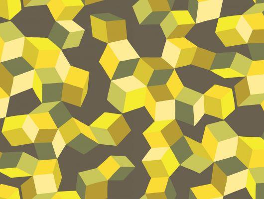 Детские обои с трехмерным рисунком из желтых кубиков на черном фоне, Geometric II, Английские обои, Детские обои