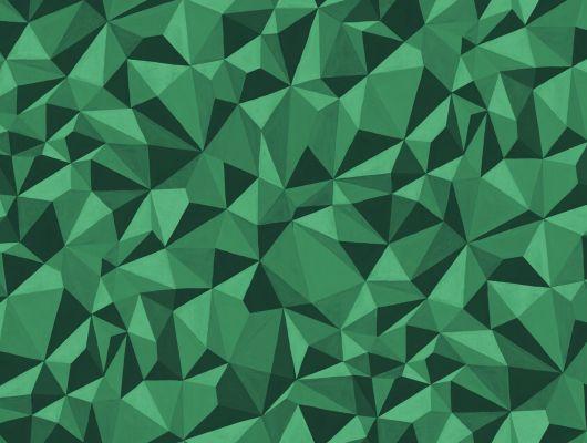 """Дизайнерские обои """"Кварц"""" с полигональным трехмерным рисунком зеленого цвета, вдохновленный минералами и камнями, Curio, Английские обои, Дизайнерские обои, Хиты продаж"""