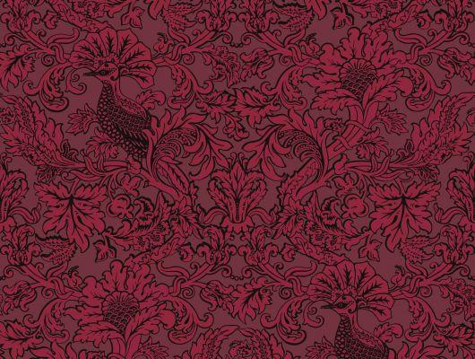 Обои из Великобритании для гостиных комнат с завораживающим красным цветом, Mariinsky Damask, Английские обои, Новинки, Обои для гостиной