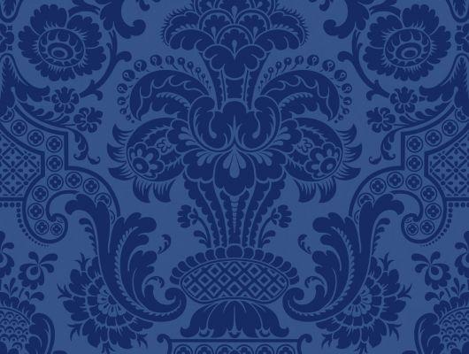 Флоковые обои для гостиной с величественным синим оттенком купить в Москве, Mariinsky Damask, Английские обои, Обои для гостиной, Флоковые обои, Хиты продаж