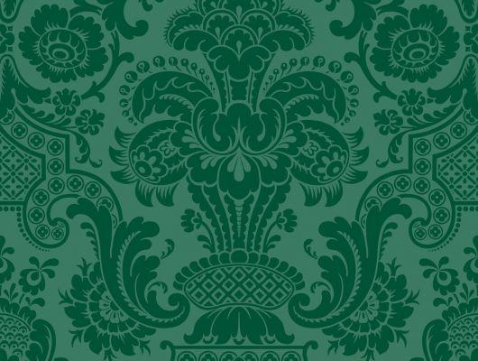 Флоковые обои для Вашей квартиры С пленяющим зеленым цветом и пушистым флоком, Mariinsky Damask, Английские обои, Обои для квартиры, Флоковые обои