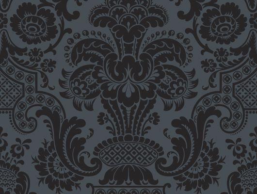 Обои из флока с рисунком завораживающего черного цвета где купить, Mariinsky Damask, Английские обои, Обои с рисунком, Флоковые обои