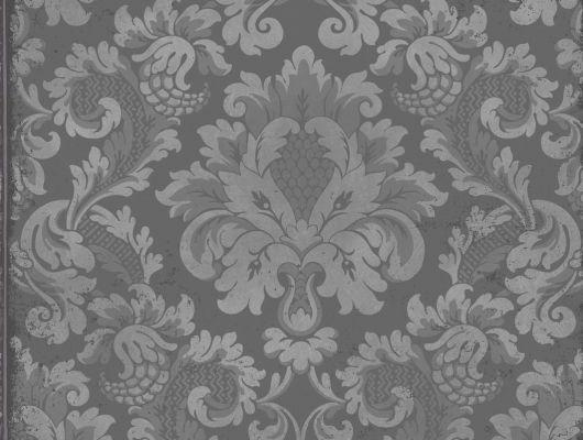Метализированные обои с рисунком Стравинский серебряного цвета, Mariinsky Damask, Английские обои, Обои с рисунком