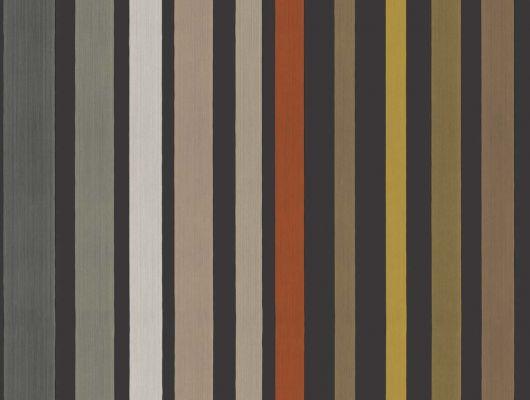 Черные обои с цветными метализированными полосками из Великобритании, Mariinsky Damask, Английские обои, Новинки, Полосатые обои