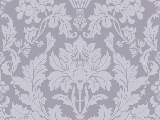 Английские обои из флизелина Фонтан с роскошными дамасками таинственно сиреневого цвета, Mariinsky Damask, Английские обои, Флизелиновые обои