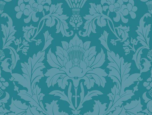 Флизелиновые обои для декорирования гостиной комнаты с роскошными цветочными дамасками цвета океанского дна на глубине 2-3 метра, Mariinsky Damask, Английские обои, Обои для гостиной, Хиты продаж