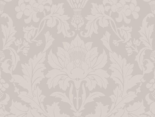 Английские обои в спальню с нежным серым цветом и растительными дамасками, Mariinsky Damask, Английские обои, Новинки, Обои для спальни