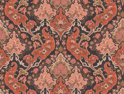 Дизайнерские обои Пушкин в красных оттенках от рубинового до малины в сливках, Mariinsky Damask, Английские обои, Дизайнерские обои