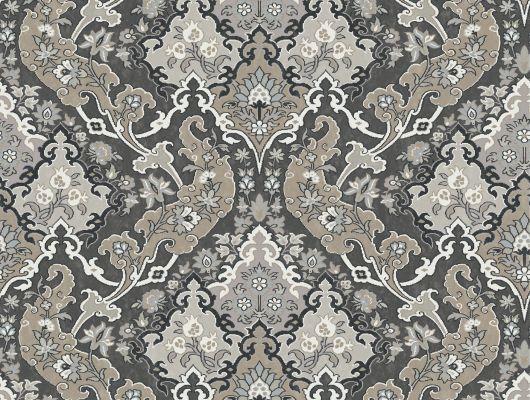Флизелиновые обои с рисунком Пушкин черно белой расцветки, Mariinsky Damask, Английские обои, Флизелиновые обои