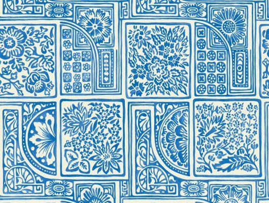 Флизелиновые обои из Англии для стен с рисунком из голубой плитки на белом фоне напоминающей Гжель, Mariinsky Damask, Английские обои, Обои для стен