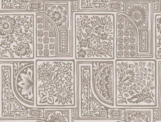 Обои с геометрическим рисунком в виде плитки с метализированной золотой краски, Mariinsky Damask, Английские обои, Обои с рисунком