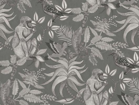 Изысканные темные обои для роскошной квартиры с рисунком из обезьян, птиц и ящерок живущих на ветвях тропического дерева, Ardmore, Английские обои, Обои для квартиры