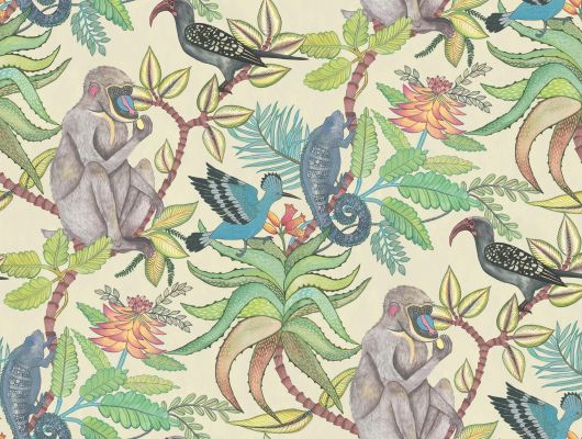 Обои из флизелина с цветочным рисунком в котором присутсвуют обезьяны, птицы и хамелеоны, купить в Москве, Ardmore, Английские обои, Обои с цветами, Флизелиновые обои, Хиты продаж