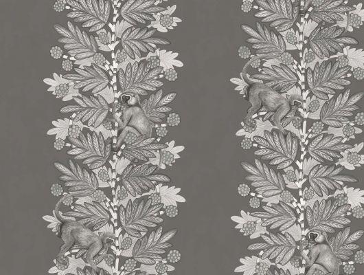 Черные обои в кабинет с изображением скачущих по раскидистым ветвям акации мартышек, Ardmore, Английские обои, Обои для кабинета, Хиты продаж