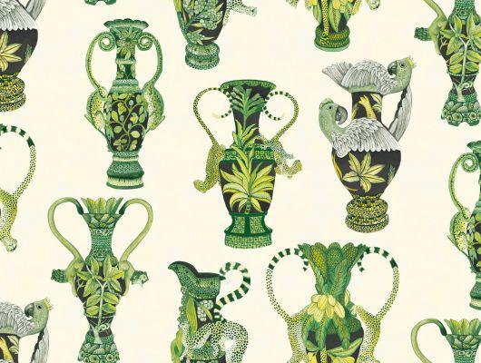 Обои для прихожей с рисунком из зеленых ваз с экзотическим африканским рисунком на кремовом фоне, этот рулон можно купить в магазине сети Odesign, Ardmore, Английские обои, Дизайнерские обои, Новинки, Обои для прихожей