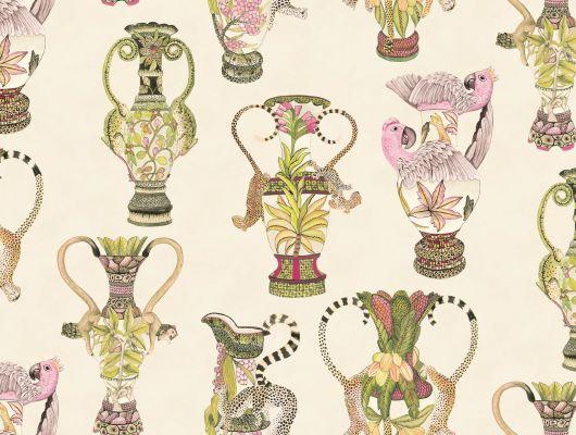 Роскошные флизелиноые обои с изображением дорогих африканских ваз с местными животными на фоне стеснительного бежевого цвета, Ardmore, Английские обои, Обои для гостиной, Флизелиновые обои, Хиты продаж