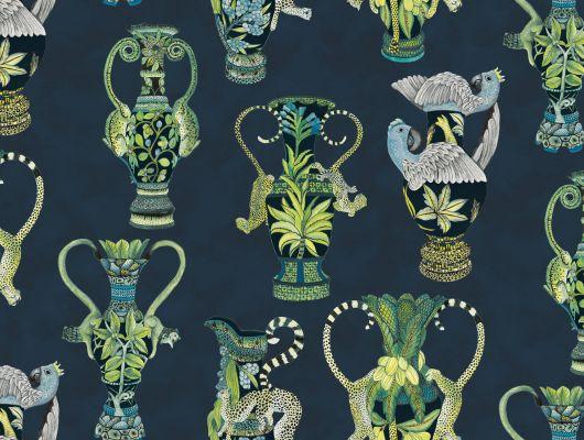 Дизайнерские обои с величественным рисунком экзотических ваз на фоне цвета печальной морской пучины, Ardmore, Английские обои, Дизайнерские обои, Обои с рисунком