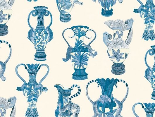 Обои с синими африканскими вазами на белом фоне для любой комнаты где заказать, Ardmore, Английские обои, Обои для комнаты