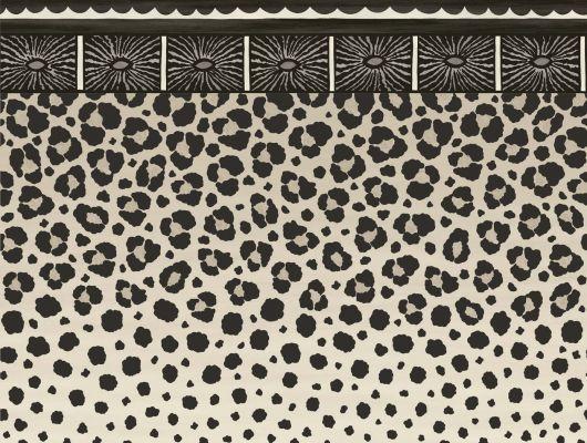 Роскошный английский бордюр с африканским узором в виде окраса гепарда и леопарда, выполненный в бело-черном цвете, что напоминает окрас снежного барса заказать с доставкой на дом, Ardmore, Английские обои, Бордюры для обоев, Новинки