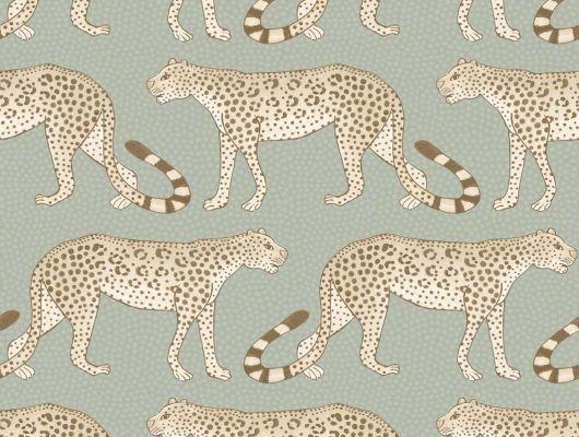 Обои для стен от Английских дизайнеров, с рисунком в виде леопардов на проминаде на светло зеленом фоне, Ardmore, Английские обои, Дизайнерские обои, Обои для прихожей, Обои для стен