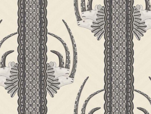 Обои для стен выдерживающие мытье при эксплуатации с полосатым рисунком из голов африканских носорогов, Ardmore, Английские обои, Моющиеся обои, Новинки, Обои для стен