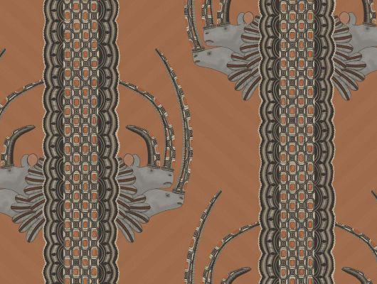 Обои из Англии для гостиной с африканскими мотивами в виде полос с вставками в виде голов носорогов, Ardmore, Английские обои, Обои для гостиной