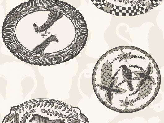 Обои в коридор с узором в виде декоративных тарелочек на белом фоне, Ardmore, Английские обои, Новинки, Обои для прихожей