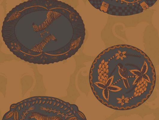 Флизелиновые обои в коричневых тонах с африканскими элементами декора купить оналйн, Ardmore, Английские обои, Обои для квартиры