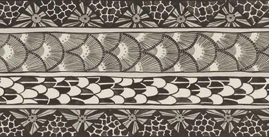 Бордюр для обоев черно-серого цвета на белом фоне с элементами африканской тематики, Ardmore, Английские обои, Бордюры для обоев, Хиты продаж