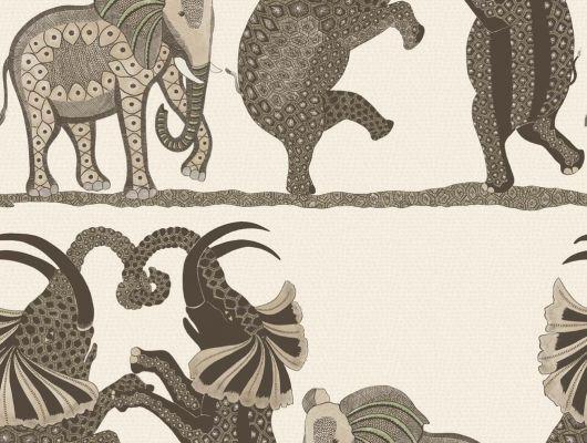 Обои для квартиры с мотивами от африканских дизайнеров, танец слонов в парке сафари купить рулон, Ardmore, Английские обои, Дизайнерские обои, Обои для квартиры