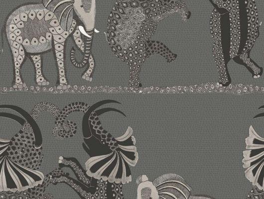Обои для кабинета с танцующими слонами в черно белом цвете, Ardmore, Английские обои, Обои для кабинета, Хиты продаж