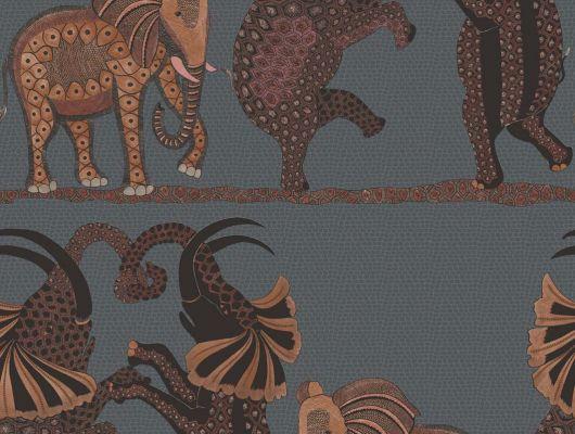 Обои которые можно протирать влажной губочкой с аутентичным орнаментом из танцующих на вечеринке слонов, Ardmore, Английские обои, Моющиеся обои