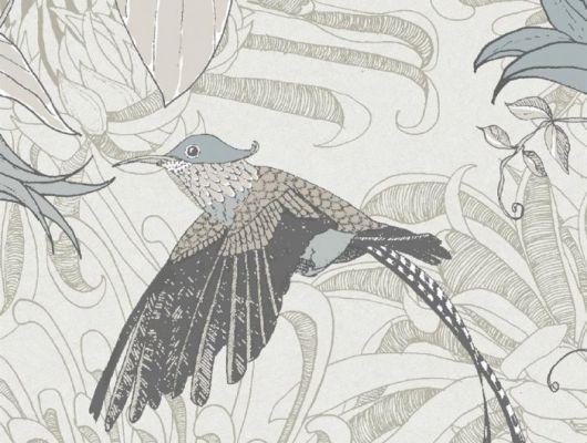 Обои флизелиновые Fardis PARADISE Lucia, для гостиной, для спальни, с райскими птицами в серых и бежевых оттенках,  с листьями бежевого цвета и серыми цветами, перламутровом фоне, купить обои в Москве, интернет-магазин обоев, большой ассортимент, доставка обоев на дом, оплата обоев онлайн, салон обоев, PARADISE, Обои для гостиной, Обои для кухни, Обои для спальни