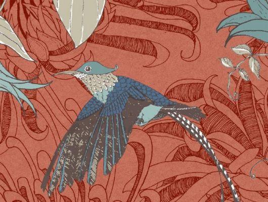 ALT - Обои флизелиновые Fardis PARADISE Lucia, для гостиной, для спальни, с райскими птицами голубого и синего цвета, с листьями серо-бежевого оттенка и цветами синего цвета,  на оранжевом перламутровом фоне, купить обои в Москве, интернет-магазин обоев, большой ассортимент, доставка обоев на дом, оплата обоев онлайн, салон обоев, PARADISE, Новинки, Обои для гостиной, Хиты продаж