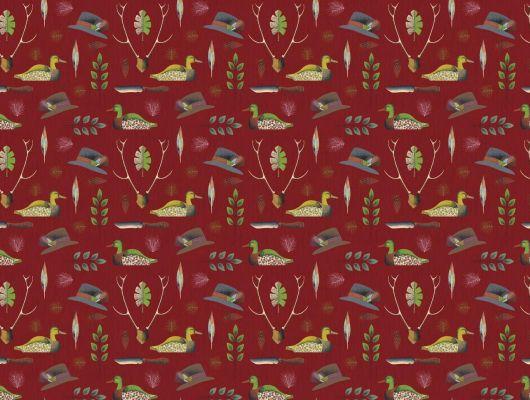 Фотообои с охотничьей тематикой. Оленьи рога, шляпа стрелка, утка мандаринка, на красном фоне., Retro, Индивидуальное панно, Обои для квартиры, Фотообои