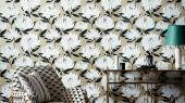 Заказать обои в прихожую арт. 112130 дизайн Sebal из коллекции Salinas от Harlequin, Великобритания с изображением хризантем белого цвета на блестящем серо-коричневом фоне с листьями черного цвета  в салоне обоев Odesign, недорого