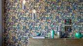 Заказать дизайнерские обои с рисунком бабочек на темно синем фоне дизайн Lamina арт. 112167 от производителя Harlequin с бесплатной доставкой до дома