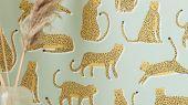 Обои для спальни Lionel с животными на ером фоне из коллекции Esala от Scion заказать с доставкой