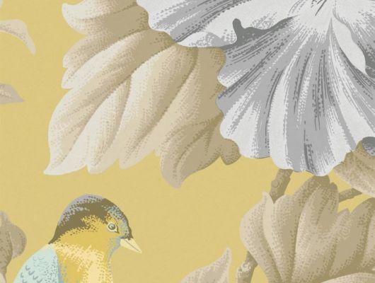 Обои флизелиновые Fardis PARADISE Camila, для спальни, для гостиной, с крупными цветами гибискуса серого цвета и птицами золотистого и голубого цвета на золотом металлизированном  фоне, купить в интернет-магазин обоев, салон обоев, большой ассортимент, купить обои в Москве, оплата обоев онлайн,  доставка обоев на дом, PARADISE, Обои для гостиной, Обои для кухни, Обои для спальни