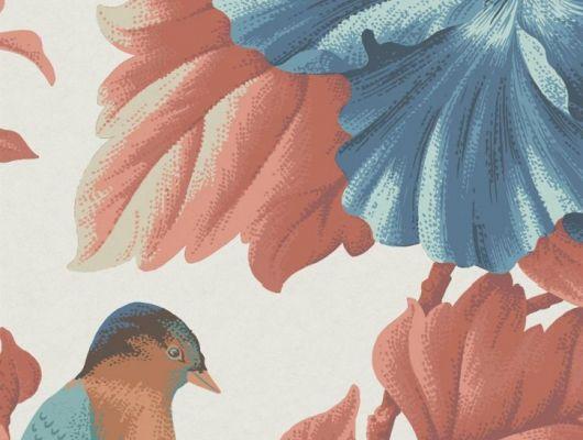 Обои флизелиновые Fardis PARADISE Camila, для спальни, для гостиной, с крупными цветами гибискуса и птицами в синих и красных оттенках на серебристом фоне, купить в интернет-магазин обоев, салон обоев, большой ассортимент, купить обои в Москве, оплата обоев онлайн,  доставка обоев на дом, PARADISE, Обои для гостиной, Обои для кухни, Обои для спальни, Хиты продаж